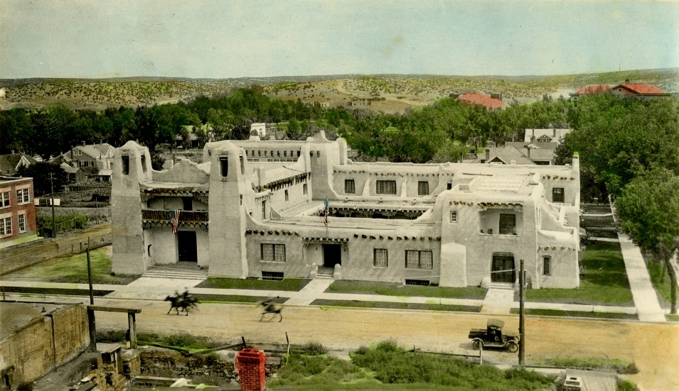 Evan C. Douglas hand-colored photograph of the museum circa 1920. Gift of Estate of Marjory and Victor Hansen